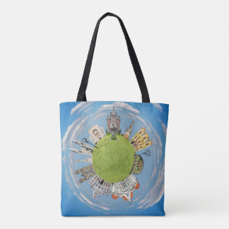 timisoara city romania tiny little planet landmark tote bag
