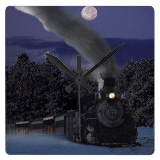 Timmy's Christmas Night Train Square Wall Clock