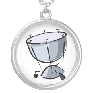 Timpani No Pedal Abstract Graphic Image Design Silver Plated Necklace