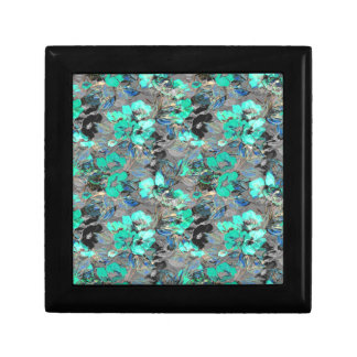 Tin and teal floral paint texture pattern. gift box