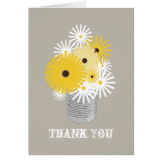 Tin Can of Daisies & Black Eyed Susans Thank You Greeting Card