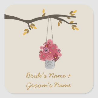 Tin Can Of Red Flowers Fall Wedding Square Sticker