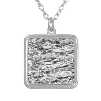 Tin Foil Silver Metal Aluminum Pattern Square Pendant Necklace