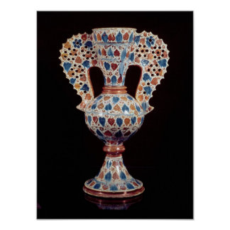 Tin-glazed vase with lustre decoration poster