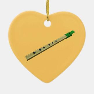 Tin Whistle Gold Green Birthday Christmas Heart Ceramic Heart Decoration