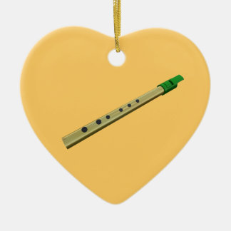 Tin Whistle Gold Green Birthday Christmas Heart Christmas Ornament