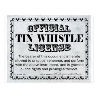 Tin Whistle License Postcard