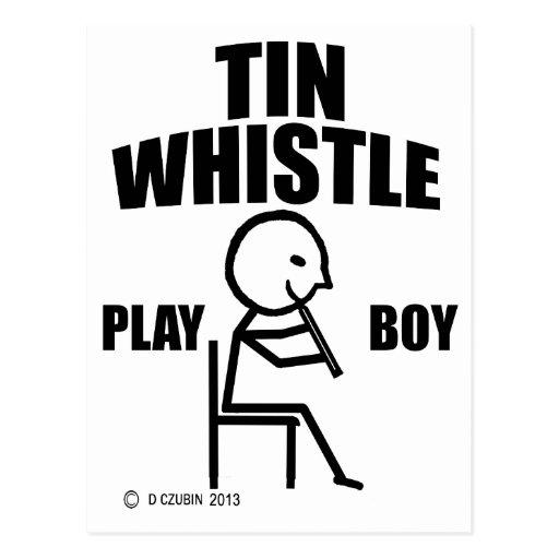 Tin Whistle Play Boy Postcard