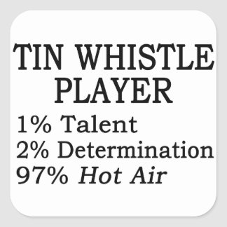 Tin Whistle Player Hot Air Square Sticker