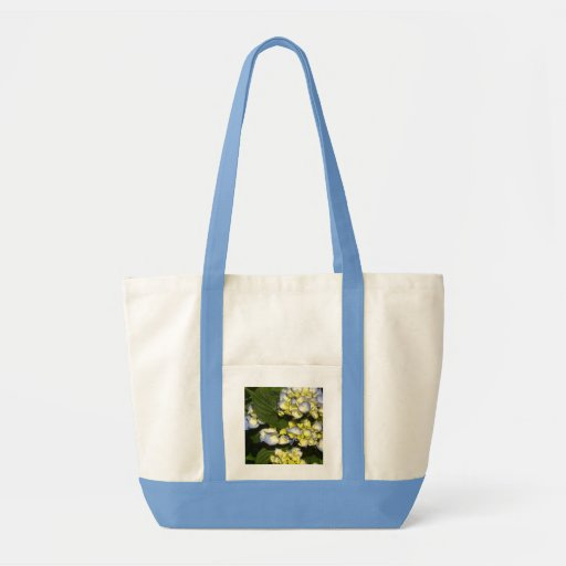 Tinged-Blue White Hydrangeas Canvas Bags