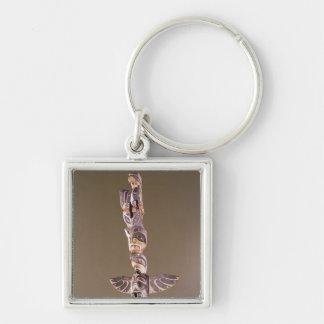 Tinglit Bird Clan totem pole Silver-Colored Square Key Ring