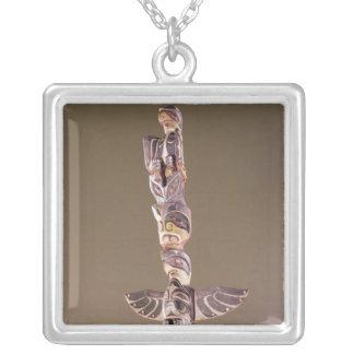 Tinglit Bird Clan totem pole Silver Plated Necklace