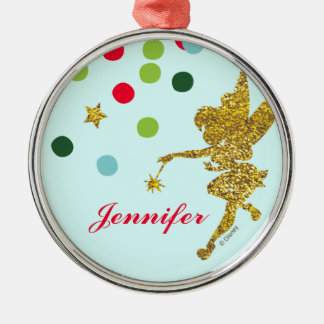 Tinker Bell |Christmas Sparkle Add Your Name Silver-Colored Round Decoration