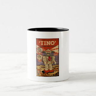 Tino the Heart Operated Toy Robot (Vintage) Two-Tone Coffee Mug