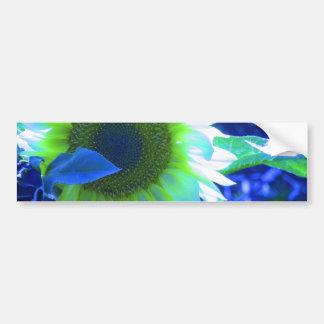 Tinted Blue Sunflower Car Bumper Sticker