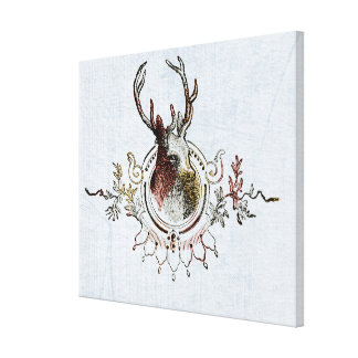 Tinted Stag Head Canvas Print