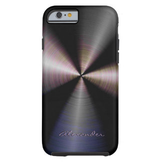 Tinted Stainless Steel Metal Look-Custom Text iPhone 6 Case