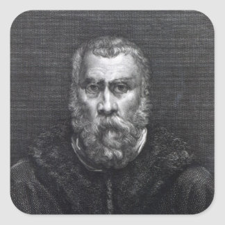 Tintoretto, engraved by Delaistre Square Sticker