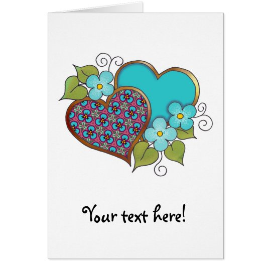 Tiny-010 Turquoise and maroon pattern Card