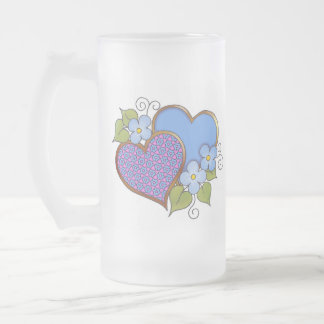 Tiny-011 Shocking Pink and Blue Frosted Glass Mug