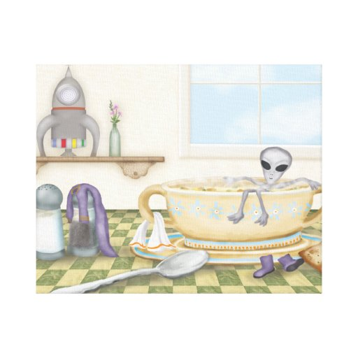 Tiny Alien in My Soup Canvas Print