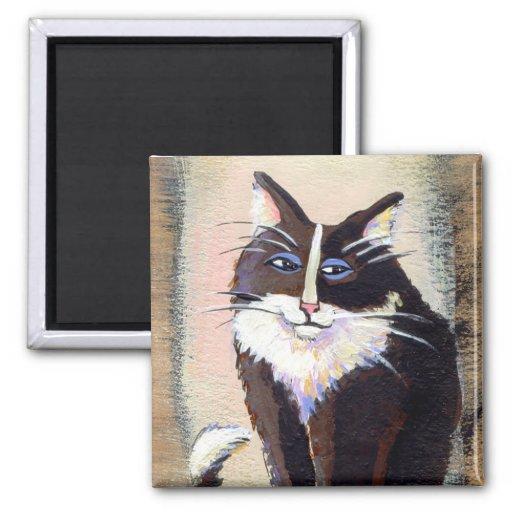 Tiny Art # 303 - Bemused tuxedo cat painting art Magnets