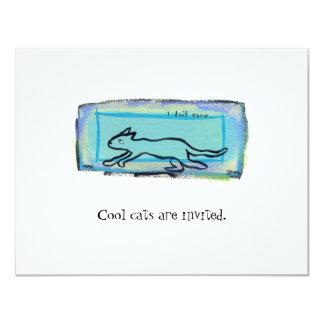 Tiny Art #397 - I Don't Care Cat  fun original art 11 Cm X 14 Cm Invitation Card