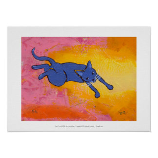Tiny Art #595 - An awkward leap - fun cat ART Poster