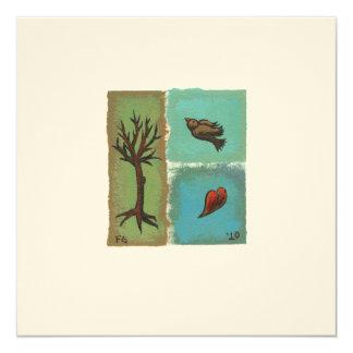 """Tiny Art # 606 - Tree, Bird, Heart - painting art 5.25"""" Square Invitation Card"""