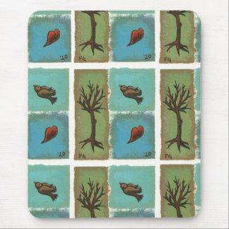 Tiny Art # 606 - Tree, Bird, Heart - painting art Mouse Pad