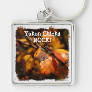 Tiny Autumn; Yukon Chicks ROCK Silver-Colored Square Key Ring