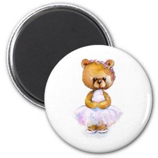 Tiny Ballet Bear 6 Cm Round Magnet