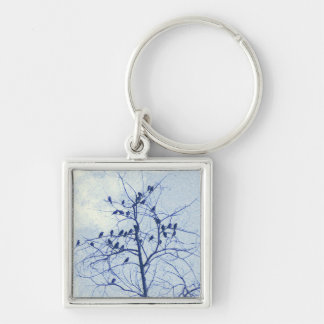 Tiny Birdies in the Treetop Silver-Colored Square Key Ring