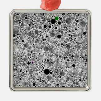 Tiny Black Grey Bling Pattern Silver-Colored Square Decoration