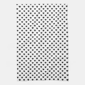 Tiny Black Hearts Pattern Towels