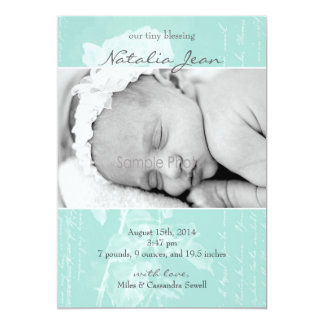 Tiny Blessing Birth Announcement//Light Emerald Card