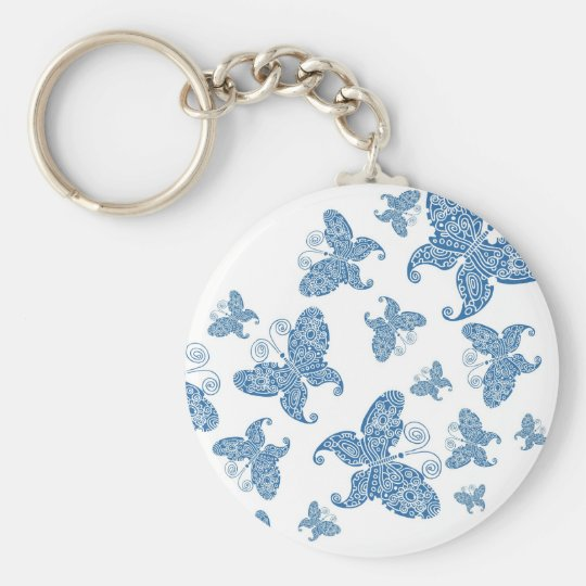 Tiny Blue Butterflies Basic Round Button Key Ring