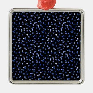 Tiny Blue Confetti Silver-Colored Square Decoration