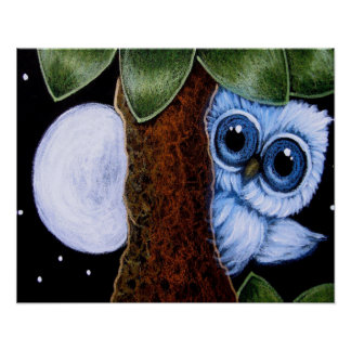 "TINY BLUE OWL PLAYING with THE MOON Poster 16""X20"""