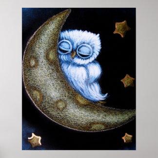 "TINY BLUE OWL SLEEPING MOON 16""x20"" Poster Semi G"