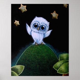 "TINY BLUE OWL STARS 16"" X 20"" Poster Semi Gloss"