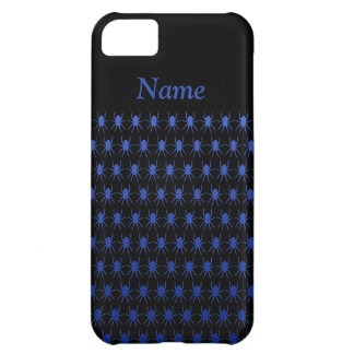 Tiny blue spiders on black custom name iPhone 5C case