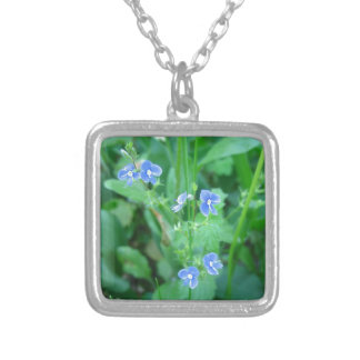 Tiny Blue Wildflowers Square Pendant Necklace