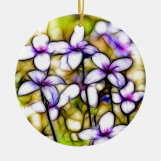 Tiny Bluet Wildflower Batik Art Round Ceramic Decoration