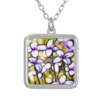 Tiny Bluet Wildflower Batik Art Square Pendant Necklace