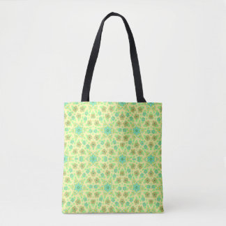 Tiny bright blue flowers on summer yellow sunshine tote bag