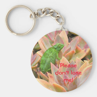 """TINY BRIGHT GREEN REPTILE HIDING IN EXOTIC PLANT BASIC ROUND BUTTON KEY RING"