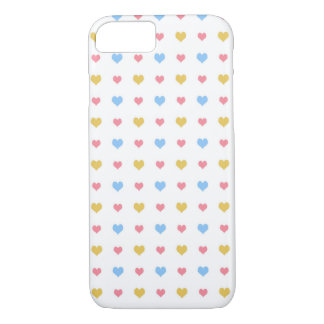 Tiny Colorful Hearts Pattern Yellow Pink Blue iPhone 7 Case