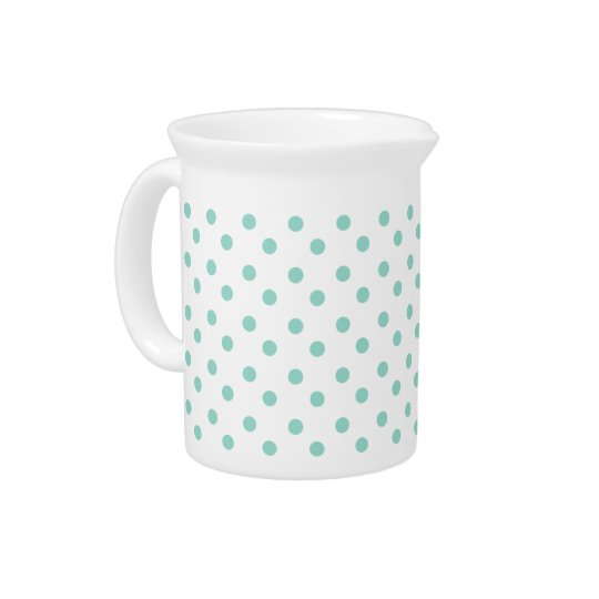 Tiny Cool Aqua Polka Dots on White Pitcher