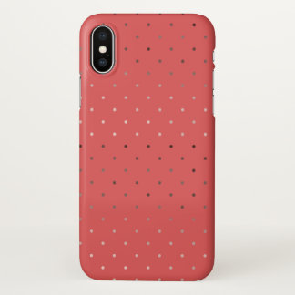 tiny faux rose gold coral polka dots pattern iPhone x case